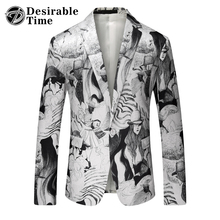Mens Fashion Printed Blazer White 2017 New Arrival Brand Clothing Mens Stage Wear Suit Jacket DT518(China)