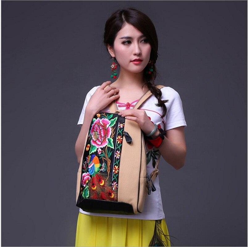 Рюкзаки женские рюкзаки Новинка 2017 года дизайн очарование вышивка рюкзаки моды передний край сумка ручной работы холст + Кожаная сумка(China)