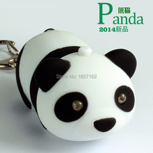 Adorable Panda Cartoon figure toy LED Light+Sound Mobile phone pendant Car&Bag deco Cute Animated Gift Torch Keychain Keyring CE