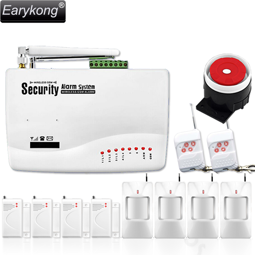 Free shipping wholesale 433 MHZ wireless GSM home Burglar security alarm system with 4 PcsPIR + 4 PCS magnetic door<br>