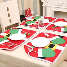 Hoomall Christmas Table Mat Placemat Kitchen Dinning Table Cloth Pad Mat New Year Decorations Home Restaurant Tableware Mat