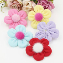 Wholesale 30PCS Handmade Cotton Fabric Spring Flower Button Patch Craft Fit for Toddler Girl Kids Hair Jewelry Headband Decor