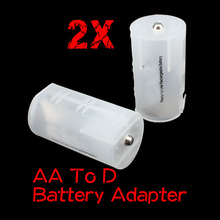 2 Pcs AA to D Size Battery Holder Conversion Adapter Switcher Converter Case GDeals