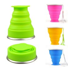 New Vogue Outdoor Travel Silicone Retractable Folding bottle Telescopic Collapsible Portable Water bottle 200-300ml