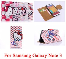 3D Cartoon Hello Kitty PU Leather Flip Case Cover Wallet With Card Slot for SAMSUNG GALAXY Note 3 III N9000 Phone Cases Bag
