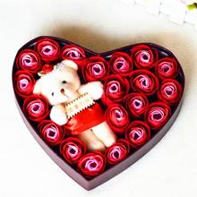 Love Shape artificial Valentine soap Flower Rose toy bears with box Romantic Valentine Wedding Birthday Gift Flower Day 35(China)