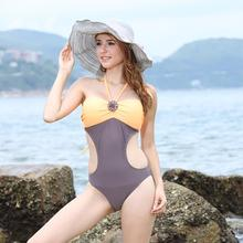 One Piece Swimwear Female Beach Swimming Suit for Women Swimsuit Push Up Sexy Monokini Halter Patchwork Bathing Suit Beach Wear