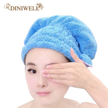 DINIWELL Womens Girls Lady's Magic Quick Dry Bath Hair Drying Towel Head Wrap Hat Makeup Cosmetics Cap Bathing Tool TQ-BR012(China)