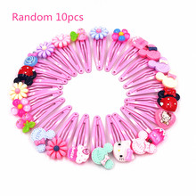 Wholesale 100PCS Hello Kitty Colorful Flower Fruit Cartoon Hairpins Hair clips Kids Girls Hair Clipper Accessories Party gift(China)