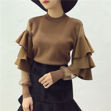 Women Knitted Sweaters Tops Costumes Ruffled Mesh Sleeve Woman Solid Stylish Sweater Pullovers Women's Clothing(China)