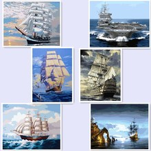 Digital Oil Painting By Number And Lighthouse Room Decor Wall Sticker Unique Craft By Hand Painted seaship ferry BM27