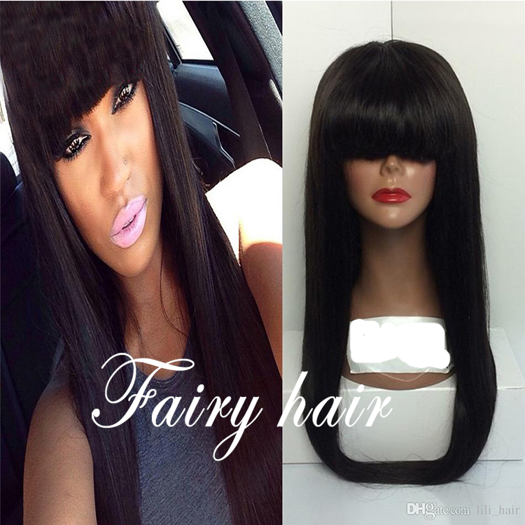 Hotselling Silky Straight Synthetic Hair Lace Front Wigs For Black Women Lace Front Straight Hair Wigs with Cute Neat Bangs<br><br>Aliexpress