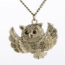 BONLAVIE 1 Piece New Vintage Charm Women Girls Fashion Style Bronze Owl Long Chain Statement Necklace Pendant Jewelry(China)