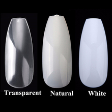 100pcs/box New Ballerina Nail Tips Full Nails Coffin Shape Artificial French Fake Nail Tip Salon Decorated Transparent Fake Nail(China)