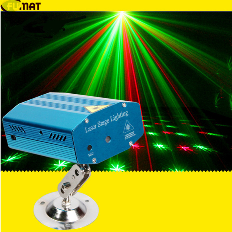 FUMAT Sound Control Mini Laser Stage Light Red &amp; Green DJ Club Disco Projector Stage Laser Light with Tripod DJ Show Disco Light<br>