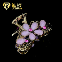 DIZHAN Vintage Anitque Gold Color Resin Flower Hair Jewelry Big Flower Hair Clip Crystal Hair Claw for women