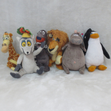 6pcs/lot Madagascar plush toys lion zebra giraffe monkey Penguin hippo Plush toys From Movie Madagascar 20-25cm(China)