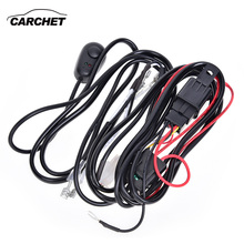 CARCHET HID Wiring Harness 2.5m DC 12V LED HID Work Wiring Driving Light Harness Kit 40A Switch Relay Wiring Harness Connectors(China)