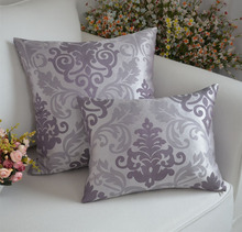 Euro high quality pillowcase plain backrest cushion pillowcases purple + silver double color silk pillowcase