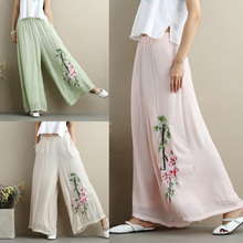 2017 Chinese Style New Summer Women Flower Embroidery Loose Linen Trousers Ladies Double Cotton and Linen Slacks Wide Leg Pants