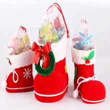 3 Size Xmas Candy Boot Christmas Decorations / Ornaments Gifts Stockings Snacks Pen Container Package Bags For Christmas Tree(China)