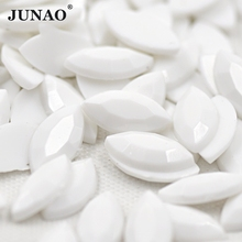 JUNAO 7*15mm White Crystals Rhinestones Flatback Glue Crystal Stones Non Sewing Horse Eye Acrylic Strass for DIY Jewelry Crafts(China)