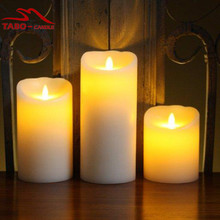 3pcs/set LED Electronic Ivory Wax Flameless Dancing Pillar Candle with Timer & Amber Yellow Light for Home Deco(China)