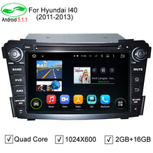 HD 7 inch 1024*600 Capacitive Screen Quad Core Android 5.1.1 Auto PC 2 Din Car DVD GPS For Hyundai i40 2011-2013 Stereo Radio