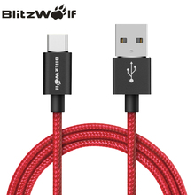 BlitzWolf USB Type C Cable 1m 1.8m 2.5m Fast Charging Data Cable Type-C USB Charger Cable For Xiaomi For Huawei Type-C Phones(China)