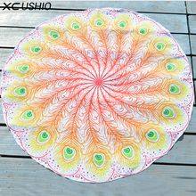 XC USHIO 150cm Shiffon Thin Wall Hanging Tapestry Bedspread Mat Feather Tablecloth Bikini Cover Up Beach Scarf(China)
