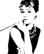 Elegant Audrey Hepburn Wall Mural POP Art Photo Wallpaper Canvas Silk Classic black-and-white wallpaper Room decor Bedroom