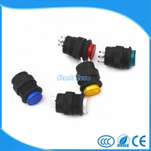 5Pcs 4pin Momentary Type 16MM White Red Blue Green Yellow LED  Lamp Round reset Push Button Switch 3A/250VAC
