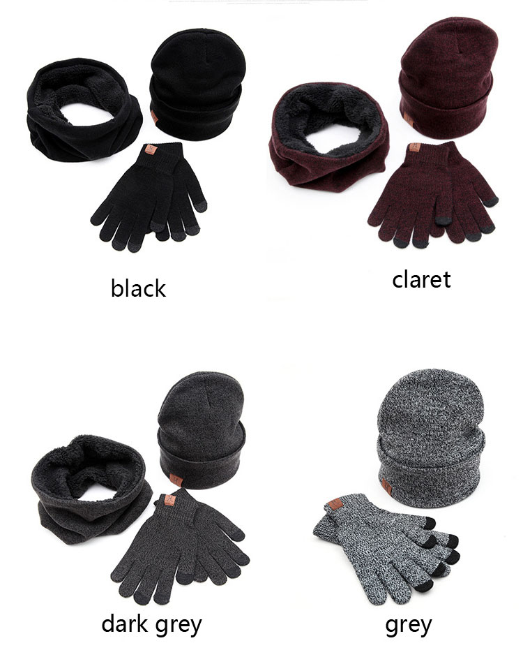 scarf gloves hat set women men winter scarf hat set winter hat scarf and glove set smart touch screen texting gloves set (2)
