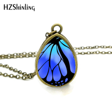 2017 New Butterfly Wing Necklace Antique Brass Chain Tear Drop Pendant Butterflies Jewelry Vintage Glass Photo Necklaces(China)