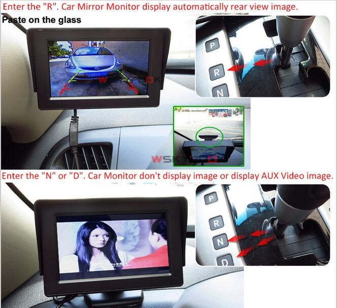 Auto Parking System 2 in1 4.3 Inch Auto TFT LCD Monitor + Night Vision CCD Rear View Revese Camera