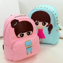Top quality PU Leather Children Girls Mini Bag Cute Printing Anime Rivet Zipper 2017 Waterproof Dora Small Backpacks Mochila