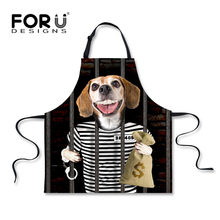 FORUDESIGNS Cool Puppy Dog Printing Kitchen Chef Aprons Black Sleeveless Dress Apron for Woman Funny Long Cuisine Cooking Apron(China)