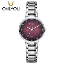 Buy ONLYOU Fashion Ladies Diamond Watch Womens Crystal Wristwatch Luxury Casual Stainless Steel Watchband Pink Quartz Watches Men for $19.24 in AliExpress store