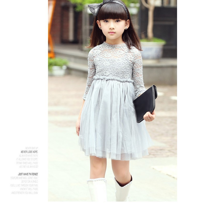 Korean baby girl lace dress Spring sweet style Kids Dresses Children Clothing for age 2-6 black gray<br><br>Aliexpress