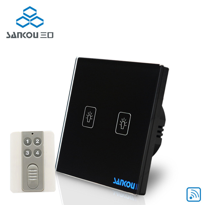 Cnskou EU Standard 2Gang 110V-220V Remote Touch Switch For LED Lamp Wireless Remote Control Wall Light Touch Switch Factory<br>