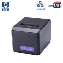 China price pos 80 printer thermal driver with usb+lan port desktop printer cutter support 1D 2D bar code printing used in store(China)