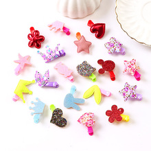 Korean 20Pcs/set Kids Flower Hair Clip Cartoon Crown Star Hair Accessories Girls Shiny Headband Resin PU Charming Love Hairpins