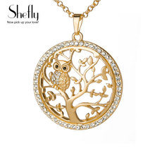 Small Owl Pendant Necklace Tree Of Life Women Rose Gold Silver Color Chain Crystal Long Necklaces & Pendants Jewelry XL07298(China)