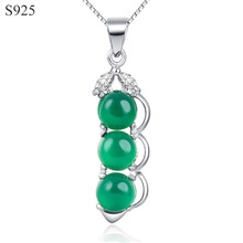 Chrysoprase Genuine Real Pure Solid 925 Sterling Silver Pendants Women Jewelry Cubic Zircon Green Gem Stone Pendant No Necklace