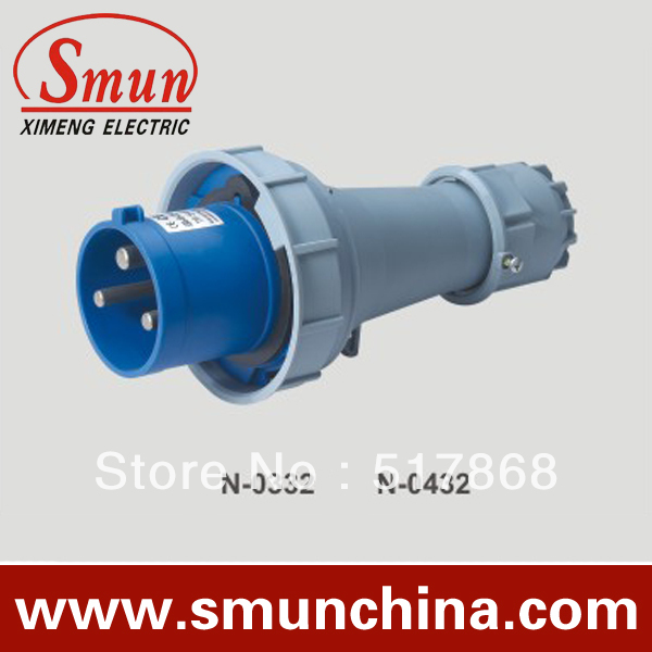 N-0432 125A 220-250V 2P+E 3pin Industrial Plug with CE ROHS 1 Year Warranty IP67 Degree PA66<br>