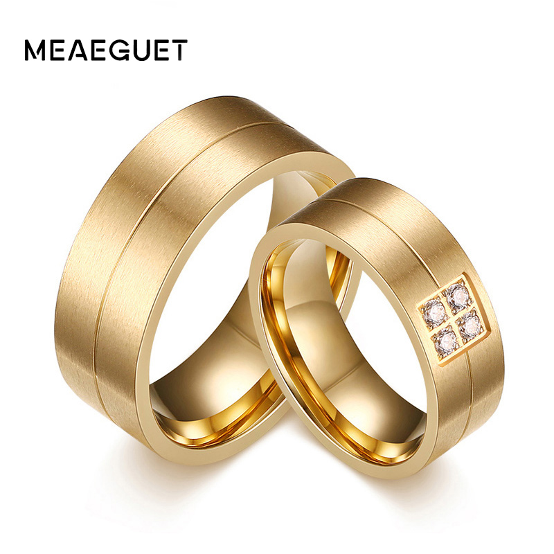 Meaeguet Fashion Stainless Steel Rings Lover Wedding Rings CZ Couple Jewelry Engagement Wedding Bands