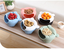 Fruit Bowl Lemorange Plastic Double Layered Dry Fruit Candy Snack Storage Box Plate Dish Tray With Mobile Phone Stents(China)