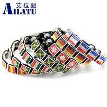 Ailatu 5 or 4 Pieces/lot Crystal Square Flag Shamballa Bracelet Italy, Portugal, Spain, Jamaica, France, Switzerland, Germany