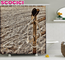 Western Decor Shower Curtain Old Cowboy Hat and Authentic Lariat Lasso on Fence in a Ranch Field Western Photo Fabric Bathroom D