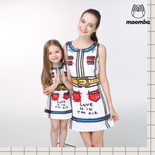 2017 new mom daughter family matching outfits fashion vest woman baby girl dresses Children's clothing Hand Painted sleeveless